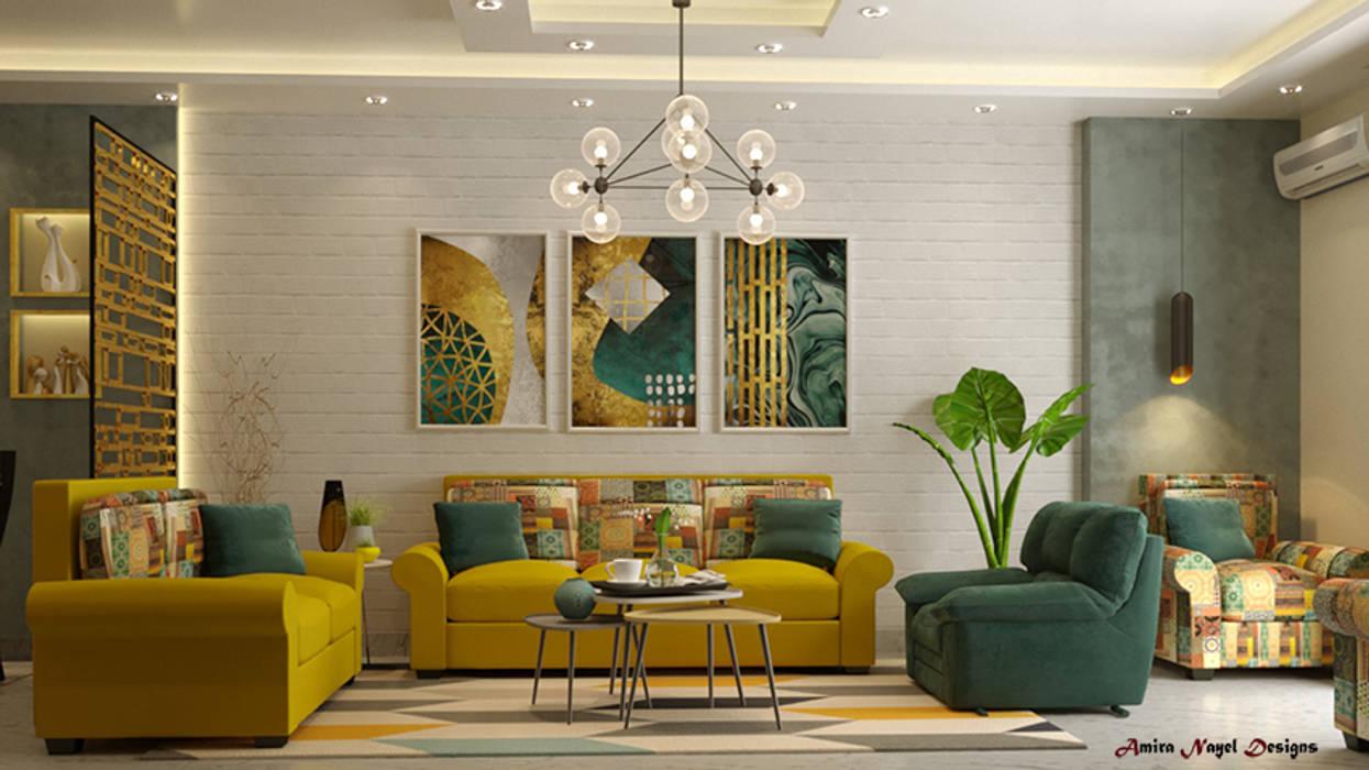 تصميم فراغ معيشة وطعام:  غرفة المعيشة تنفيذ AmiraNayelDesigns, حداثي