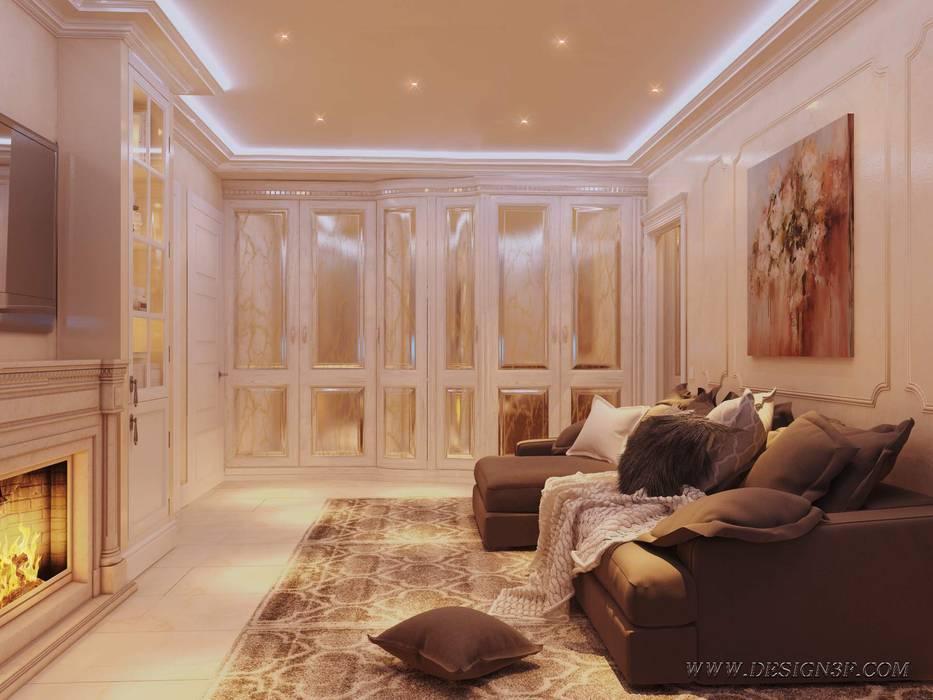 Интерьер гостиной с угловым диваном Гостиная в классическом стиле от студия Design3F Классический