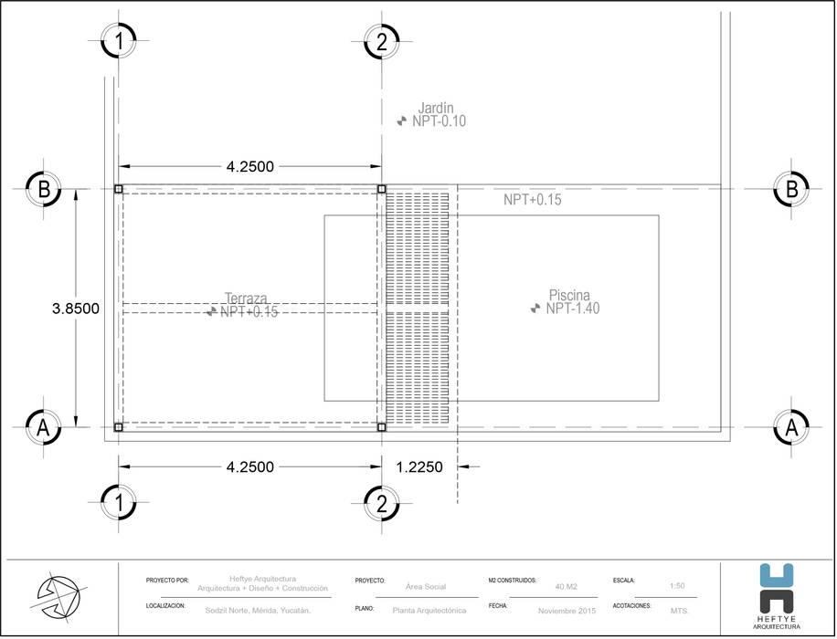 Planta Arquitectónica: Albercas de estilo  por Heftye Arquitectura