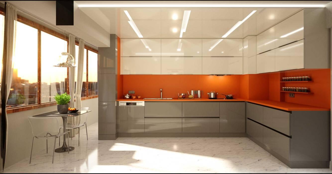 Ankastre mutfaklar ANTE MİMARLIK Mutfak üniteleri Kahverengi