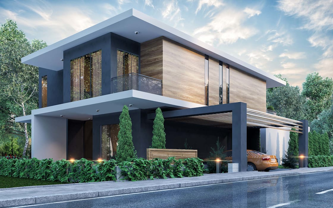 ANTE MİMARLIK  – Ana bina ve Otopark girişi:  tarz Villa