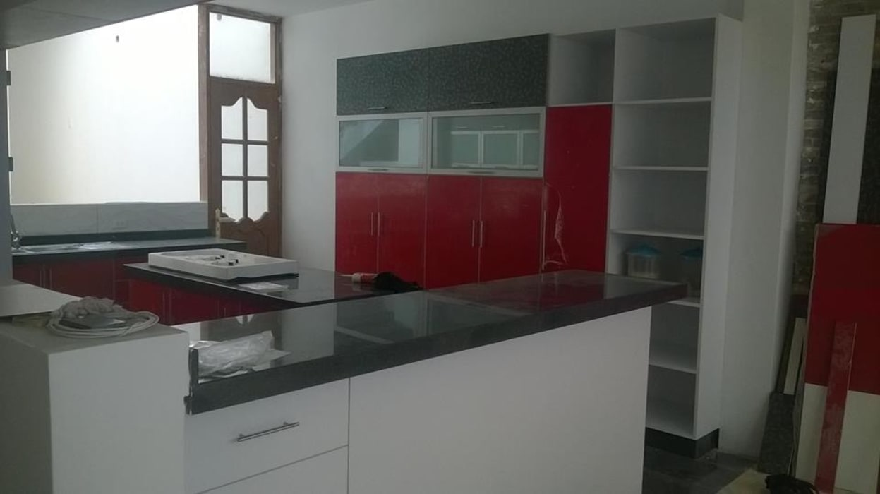 ARDI Arquitectura y servicios Kitchen units Chipboard Red
