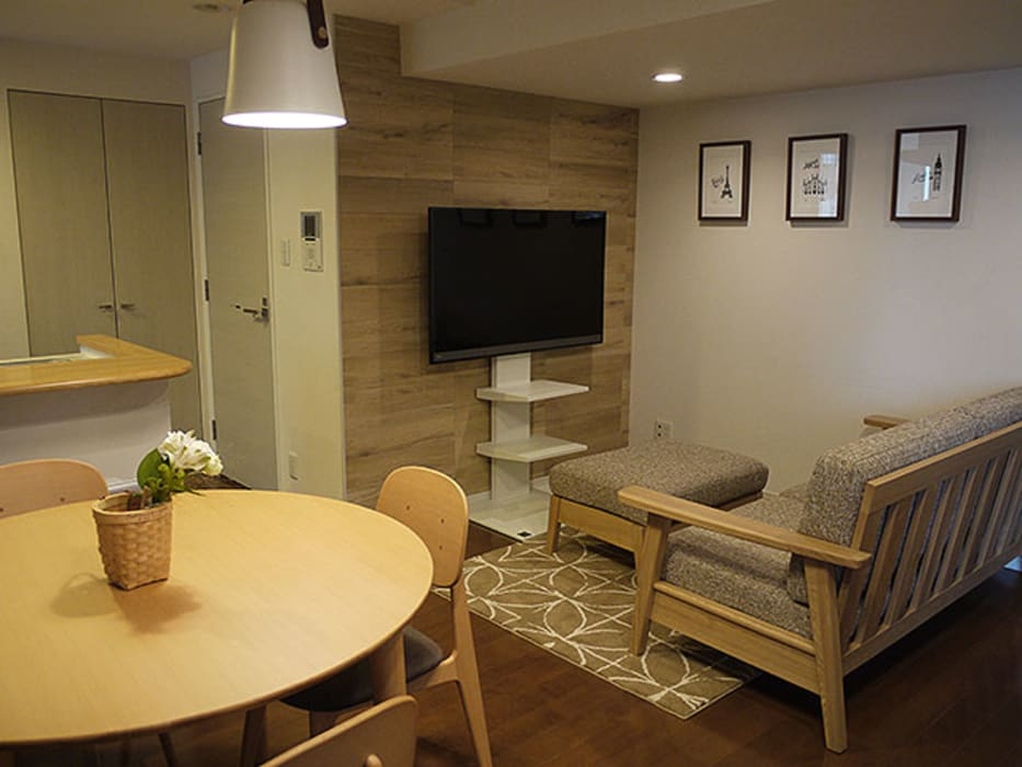 Scandinavian style living room by 株式会社アートアーク一級建築士事務所 Scandinavian Tiles