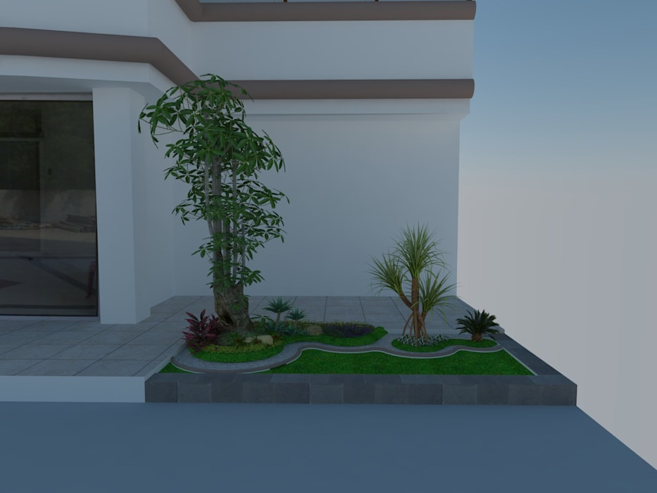 Desain taman:  Halaman depan by Jasa tukang taman gresik