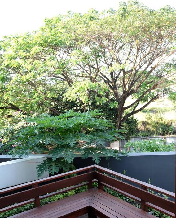 Balcones y terrazas de estilo asiático de AIGI Architect + Associates Asiático Madera Acabado en madera