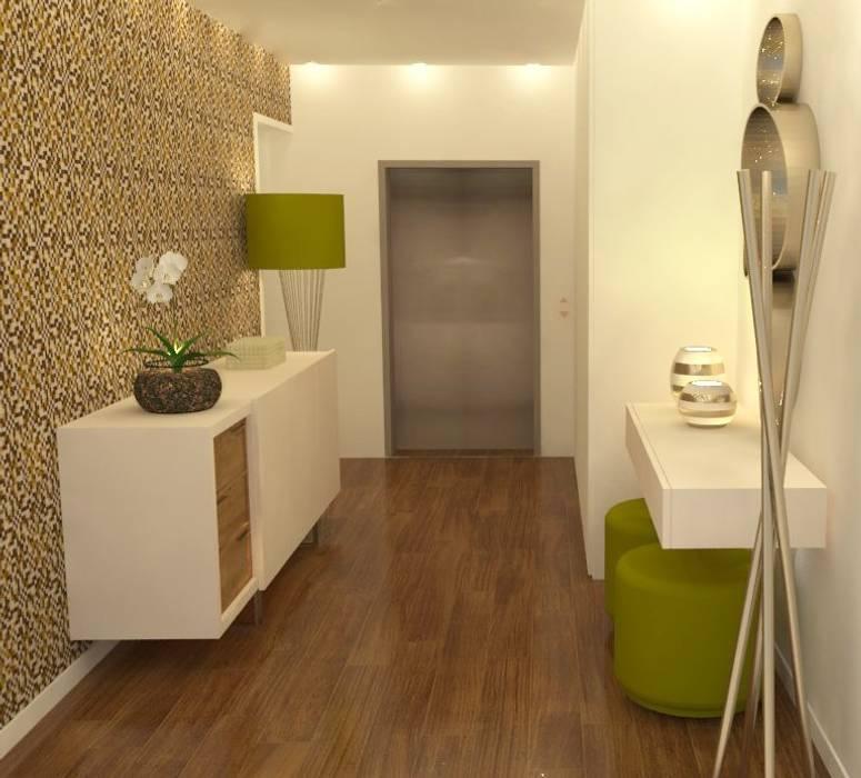 Dê cor ao seu hall de entrada!: Corredores e halls de entrada  por Casactiva Interiores,Moderno Madeira Acabamento em madeira