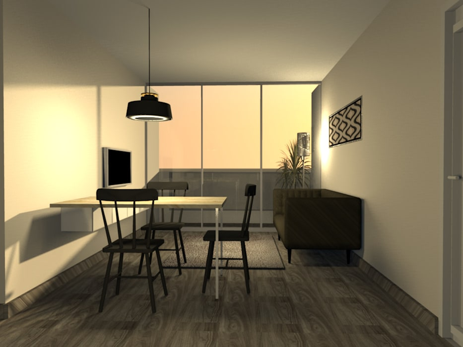 Sala Comedor Minimalista - Surco: Salas / recibidores de estilo  por Minimalistika.com