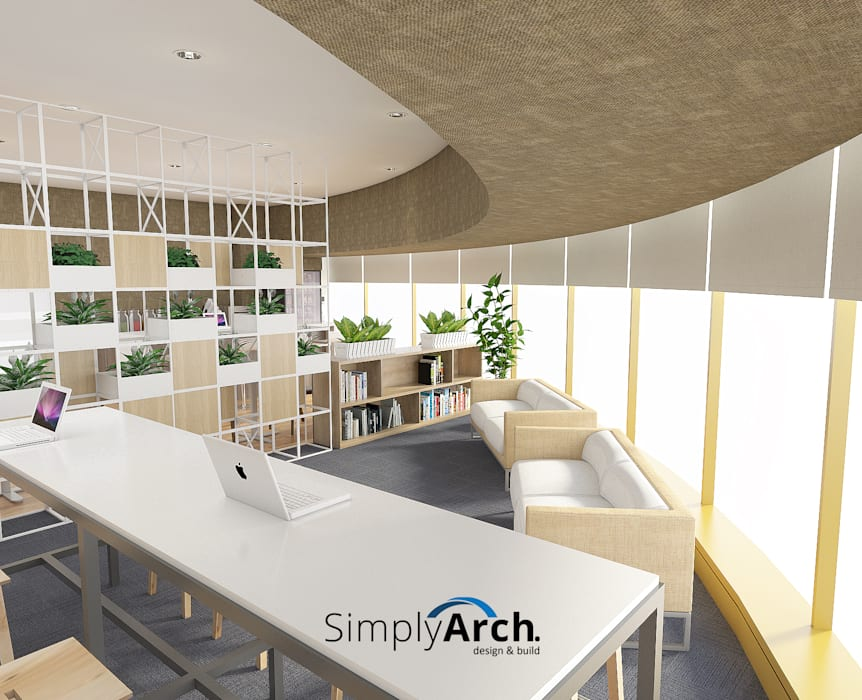 Mini Library and Working Zone:  Gedung perkantoran by Simply Arch.