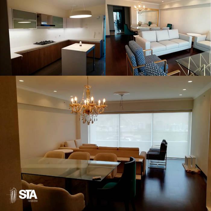Collage: Salas / recibidores de estilo  por Soluciones Técnicas y de Arquitectura