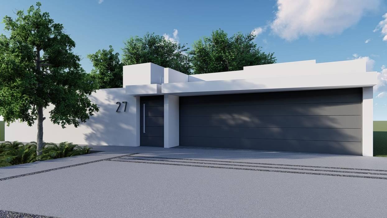 FACHADA PRINCIPAL : Casas unifamiliares de estilo  por GRUPO VOLTA,