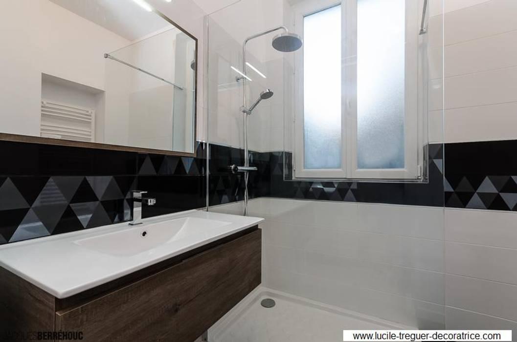 Salle-de-bains noir blanc bois salle de bain minimaliste par ...