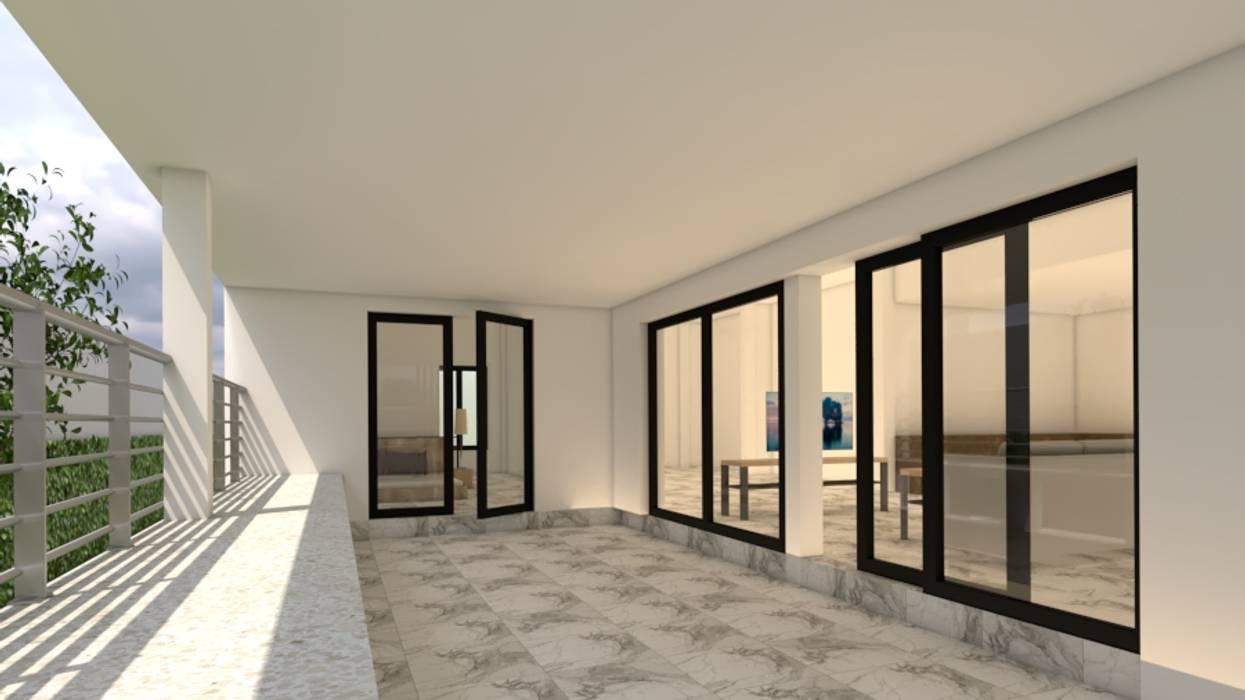 บ้านจำลอง 3D คุณช้าง:  ระเบียงและโถงทางเดิน โดย บริษัท พี นัมเบอร์วัน ดีไซน์ แอนด์ คอนสตรัคชั่น จำกัด, โมเดิร์น