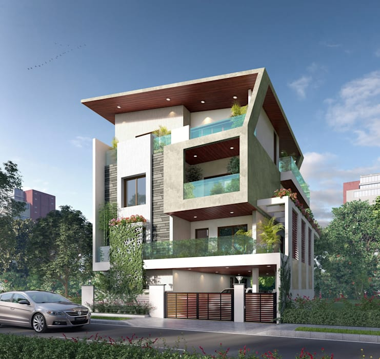 New Home Designs Latest Modern Homes Ultra Modern: Modern Bungalow: Bungalows By Anamorpho Studio
