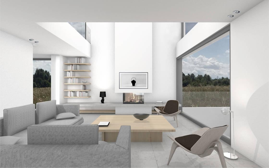 Wohnzimmer mit blick auf kamin und galerie minimalistische ...