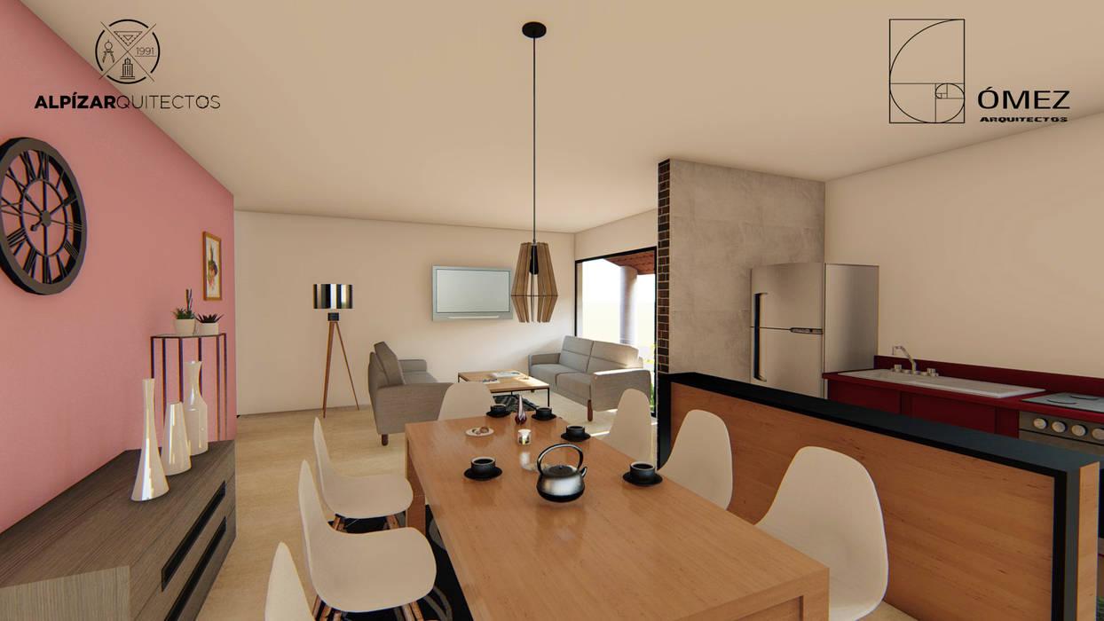 casa habitación interés social Comedores rústicos de GóMEZ arquitectos Rústico
