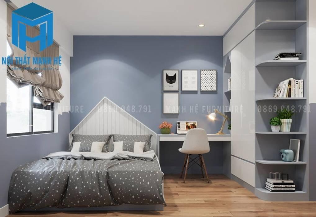 Phòng ngủ nhỏ dành cho các bé Phòng ngủ phong cách hiện đại bởi Công ty TNHH Nội Thất Mạnh Hệ Hiện đại