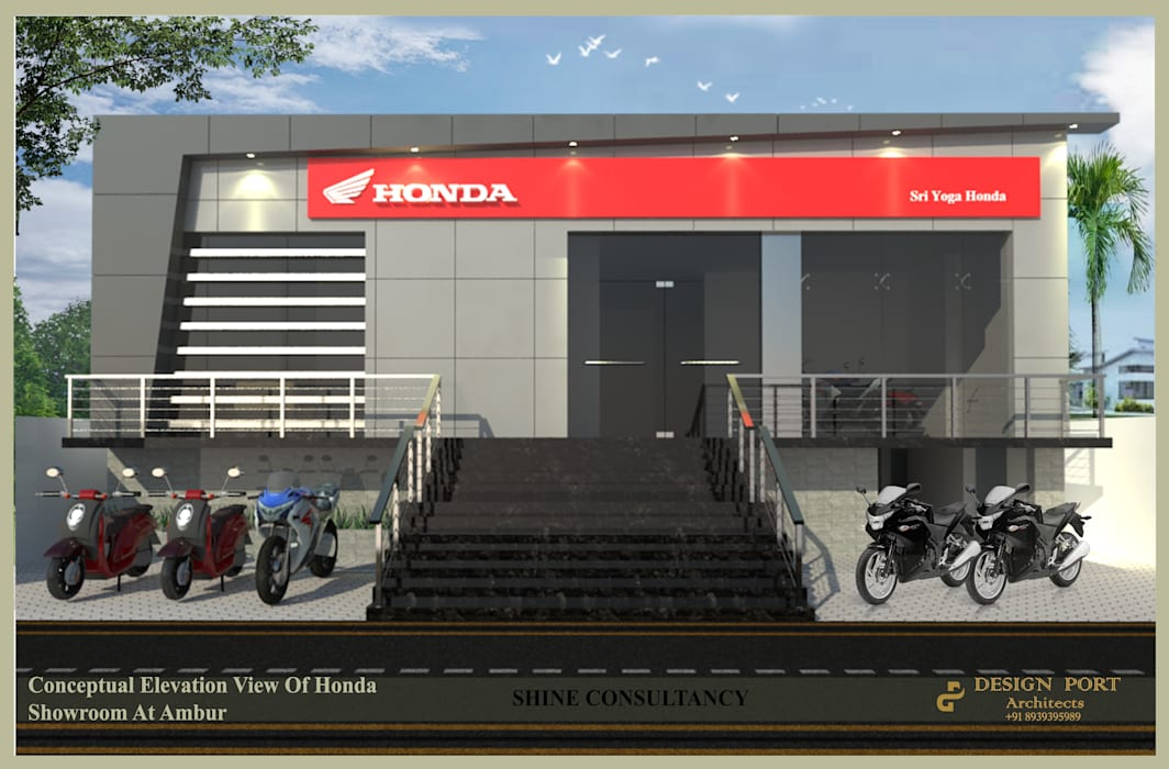 Honda showroom by Design port Modern Aluminium/Zinc