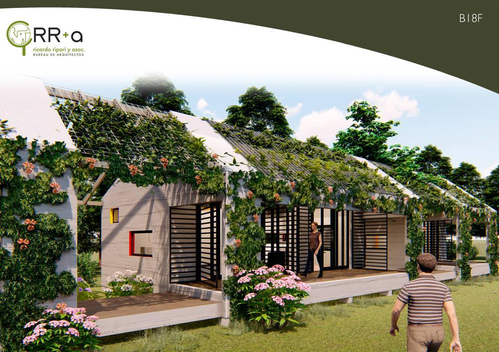 las 2 etapas se unen atraves de un patio , manteniendo su independencia : Casas prefabricadas de estilo  por Rr+a  bureau de arquitectos