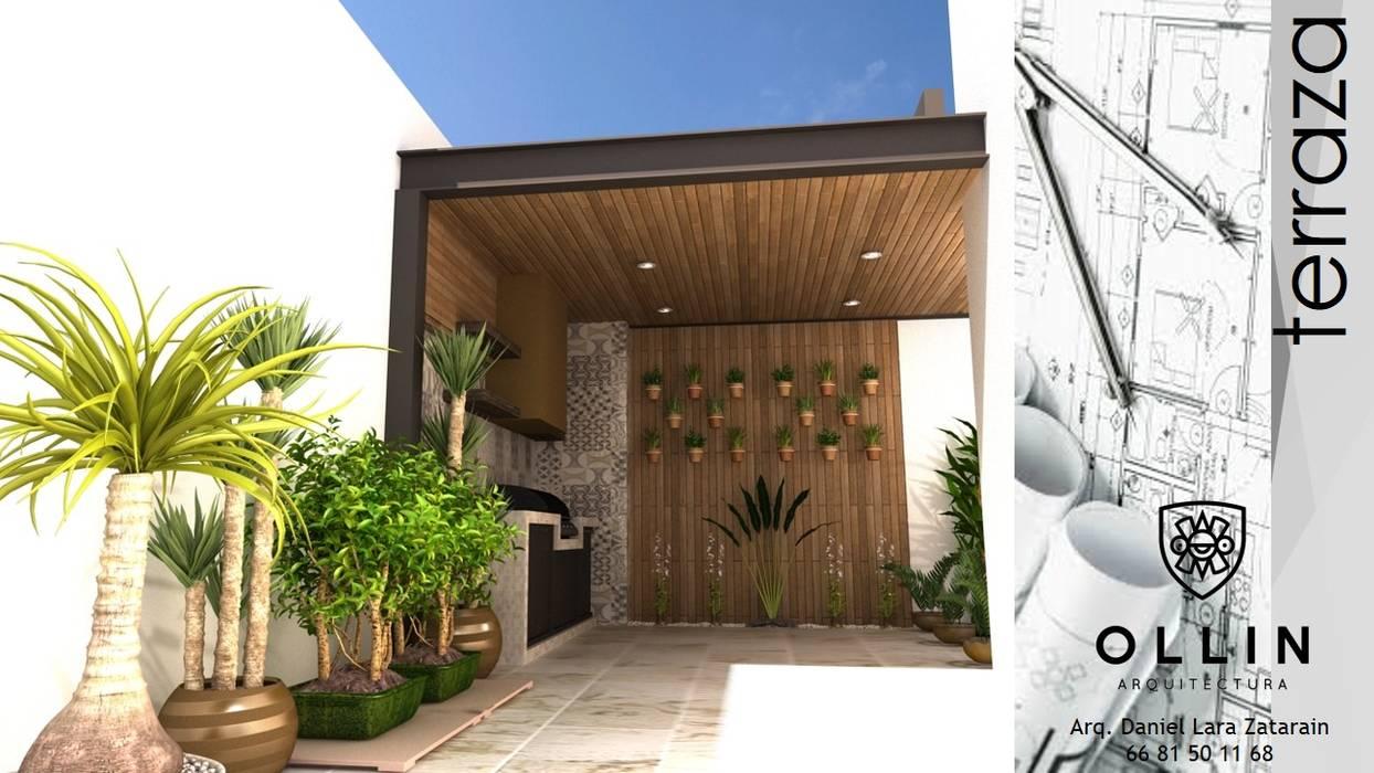 """AREA """"TERRAZA"""": Terrazas de estilo  por OLLIN ARQUITECTURA"""