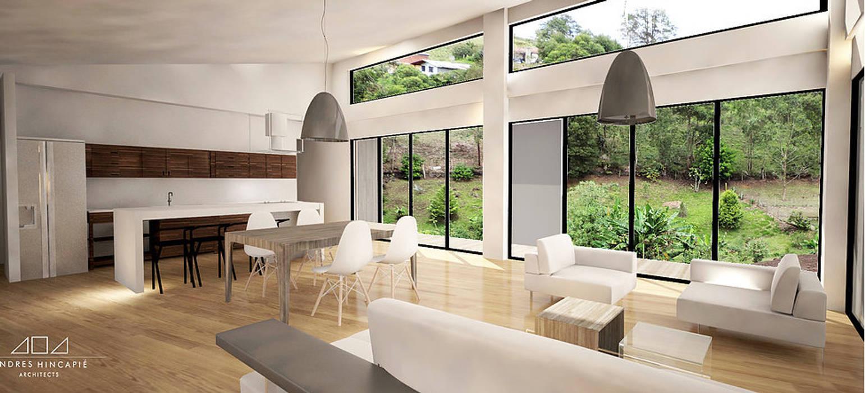Casa J Andrés Hincapíe Arquitectos A H A Salas modernas Concreto Acabado en madera