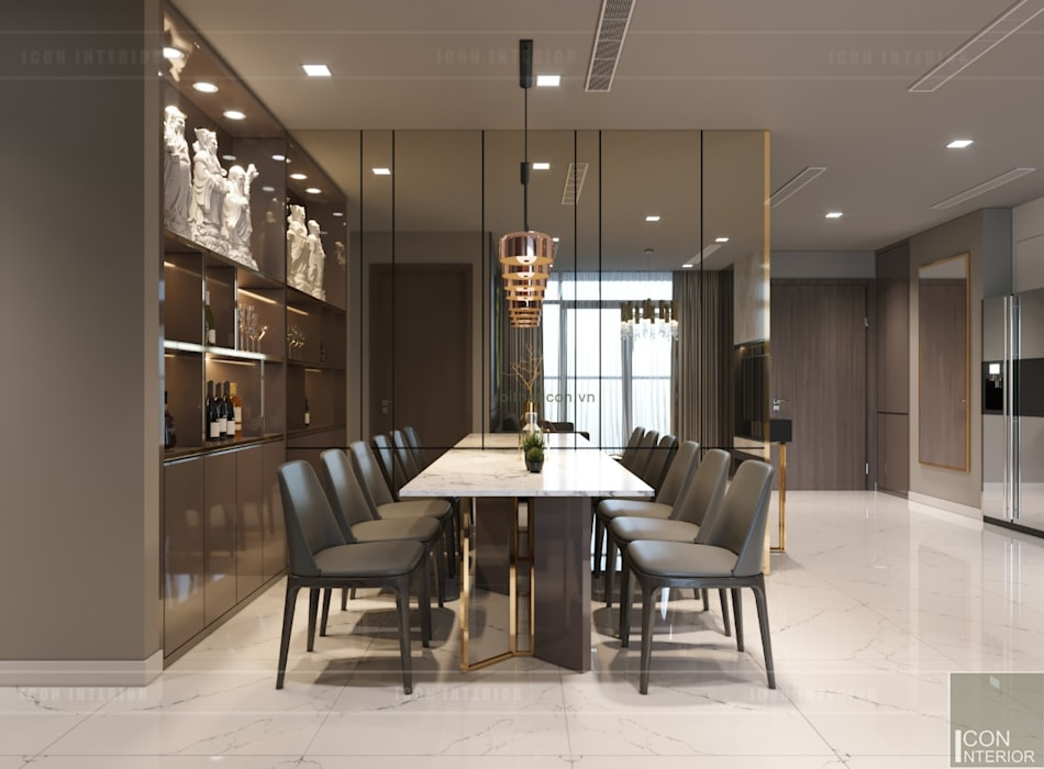 Thiết kế nội thất hiện đại căn hộ Vinhomes Central Park - ICON INTERIOR:  Phòng ăn by ICON INTERIOR
