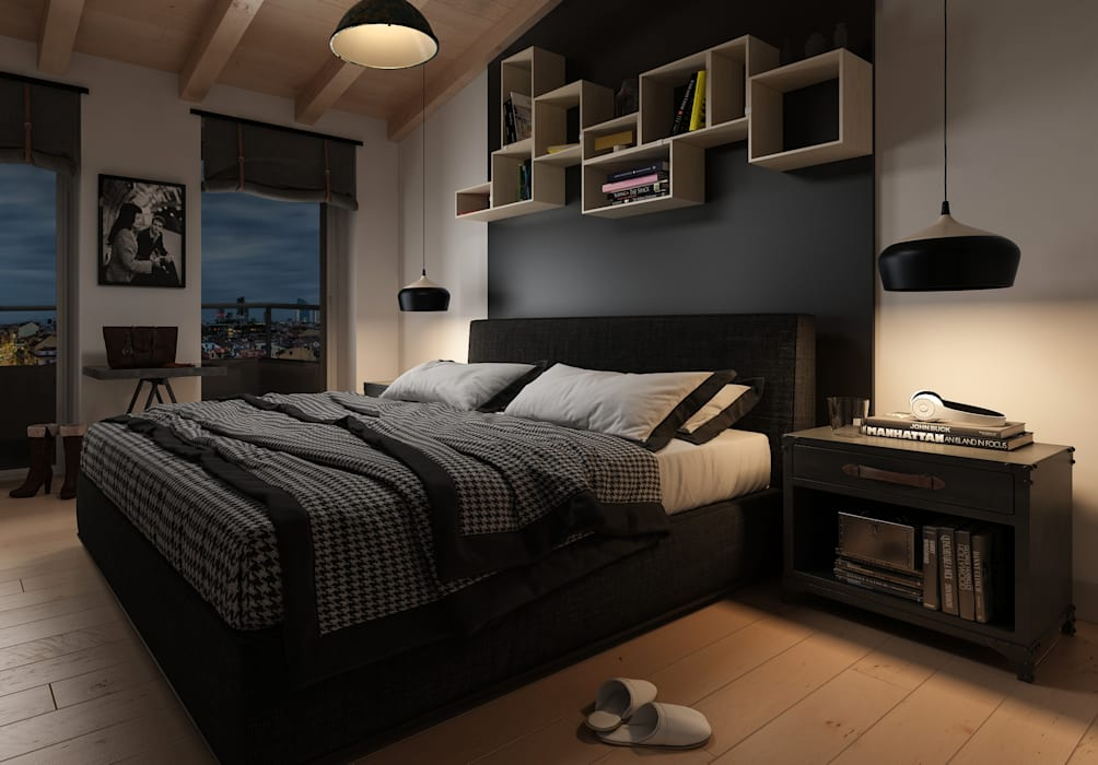 Industrial style bedroom by Insighters Computer Graphics Industrial
