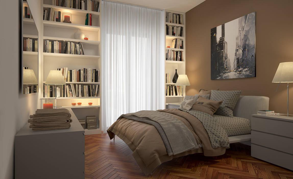 CAMERE - Render fotorealistici d'interni Camera da letto moderna di Insighters Computer Graphics Moderno