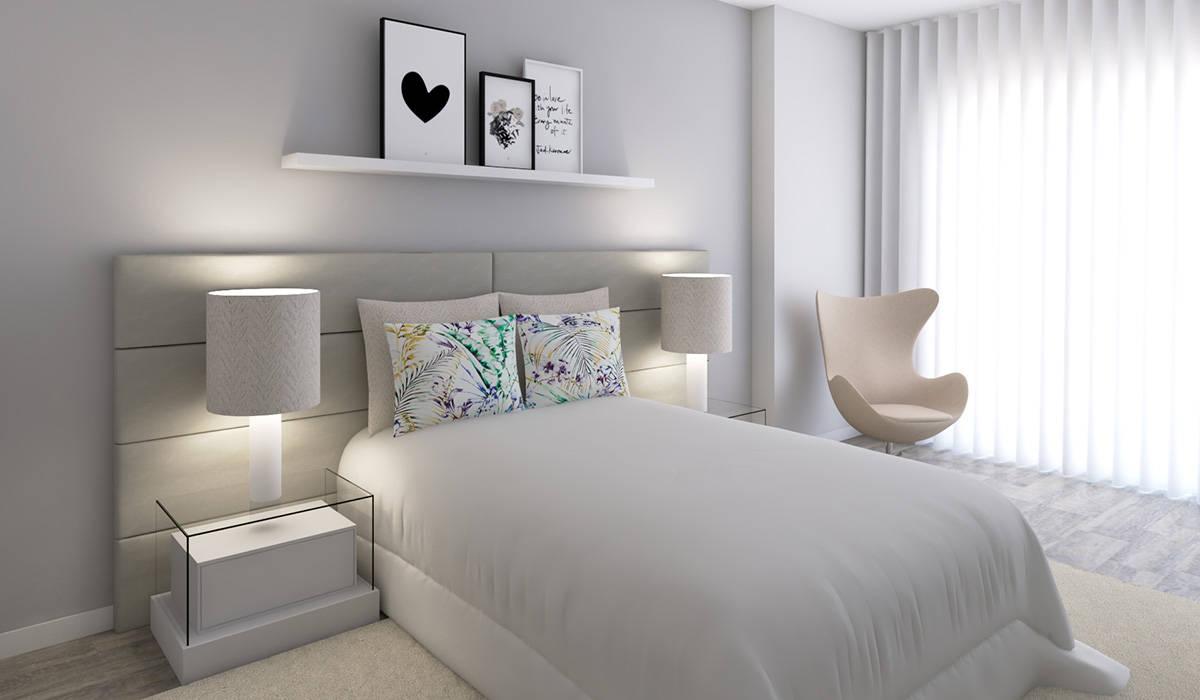 Projeto 3D - Apartamento Montijo: Quartos  por Ana Andrade - Design de Interiores,