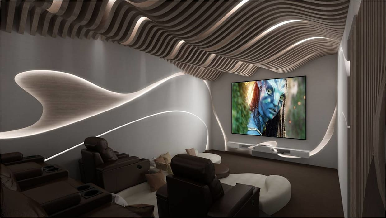 high end private residence project:  Media room by Vinyaasa Architecture & Design