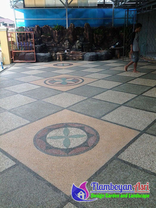 Pemasangan Lantai Carport Batu Sikat Motif Diagonal Oleh Tukang Taman Surabaya - flamboyanasri