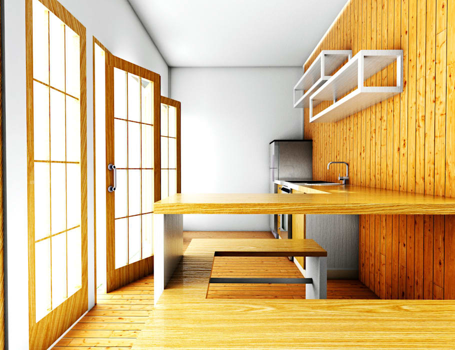 Dapur Jepang: Dapur kecil  oleh r.studio, Minimalis Kayu Lapis