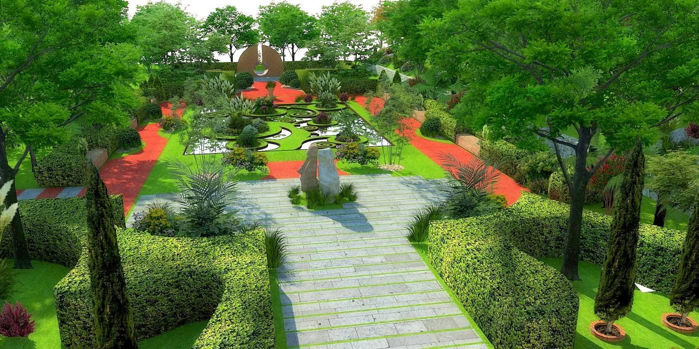 Mimari 3D Render  – Porto Caeli Bağcılık ve  Otel Peyzaj Öneri Projesi -Çanakkale/Gelibolu:  tarz Bahçe, Tropikal
