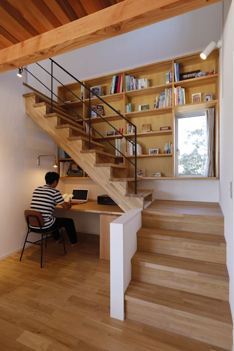 Ruang Kerja oleh 悠らり建築事務所, Rustic Kayu Wood effect