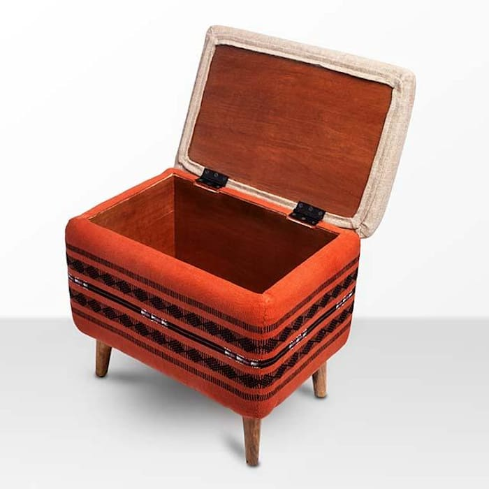 Naga Shawl Rectangular Storage Ottoman: modern  by Sihasn,Modern Cotton Red