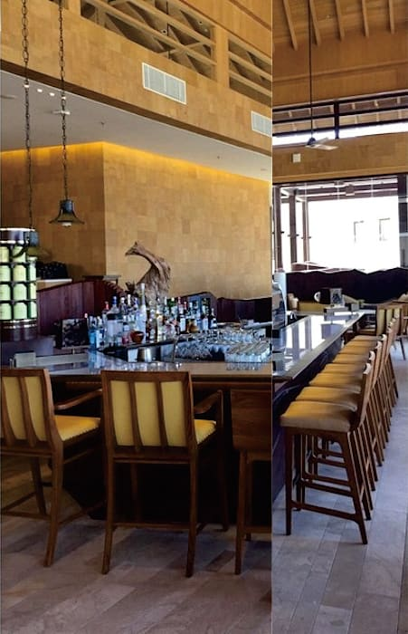 Ritz Carlton Bali, custom chairs, lounge and bar area Ruang Penyimpanan Wine/Anggur Tropis Oleh Sweden studio Tropis Kayu Wood effect