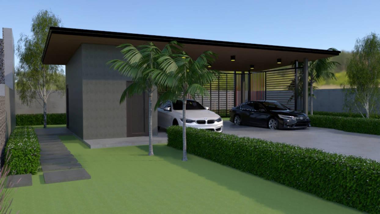 โรงจอดรถแบบจำลอง 3D:  โรงจอดรถ โดย บริษัท พี นัมเบอร์วัน ดีไซน์ แอนด์ คอนสตรัคชั่น จำกัด,