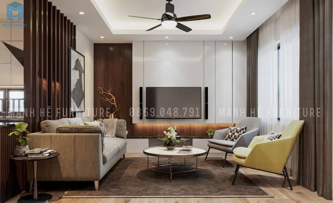 Không gian phòng khách hiện đại và sang trọng với gam màu chủ đạo là trắng - xám bởi Công ty TNHH Nội Thất Mạnh Hệ Hiện đại