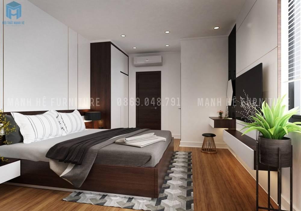 Phòng ngủ master với thiết kế đơn giản nhưng lại mang đến cho gia chủ cảm giác đầy đủ tiện nghi và ấm áp:  Phòng ngủ by Công ty TNHH Nội Thất Mạnh Hệ,