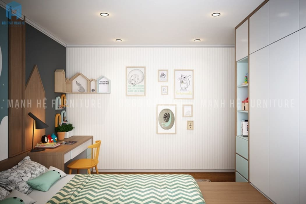 Phòng ngủ nhỏ với vách tường được trang trí khá dễ thương và năng động:  Phòng trẻ em by Công ty TNHH Nội Thất Mạnh Hệ,