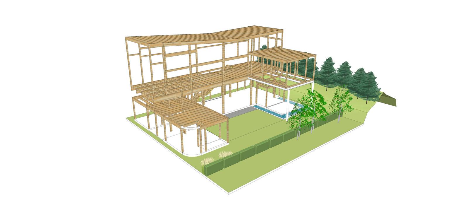 구조 시스템 모던스타일 주택 by 건축사사무소 모뉴멘타 모던 우드 우드 그레인
