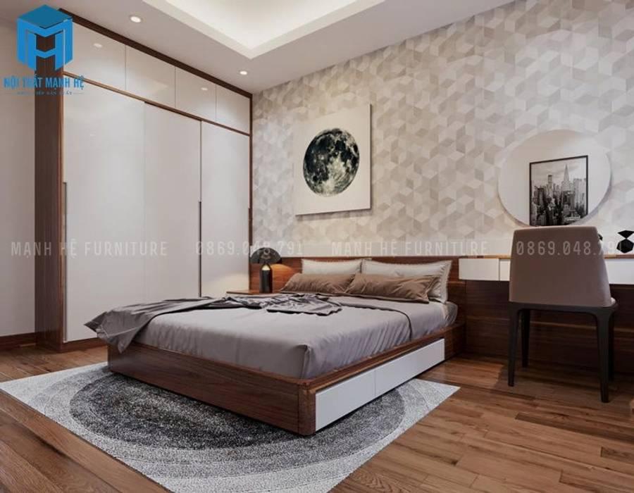 Nội thất phòng ngủ master đầy hiện đại và cá tính:  Phòng ngủ by Công ty TNHH Nội Thất Mạnh Hệ