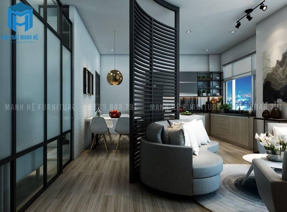 Vách ngăn tường phòng khách và phòng bếp bởi Công ty TNHH Nội Thất Mạnh Hệ Hiện đại