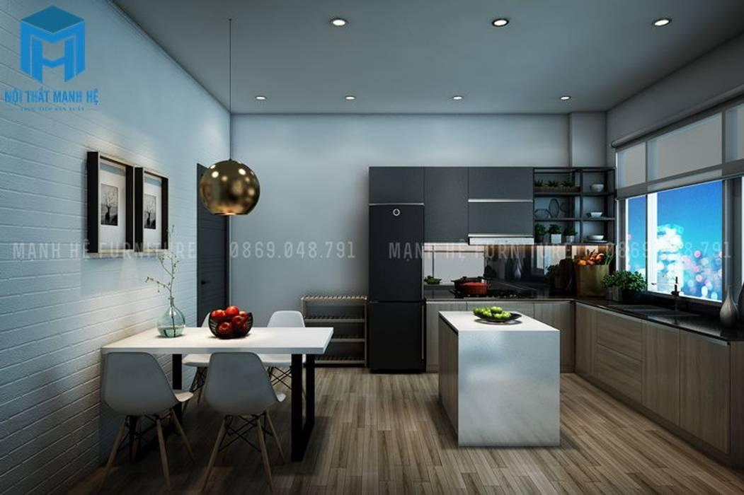 Nội thất phòng khách và phòng bếp liền kề nhau bởi Công ty TNHH Nội Thất Mạnh Hệ Hiện đại