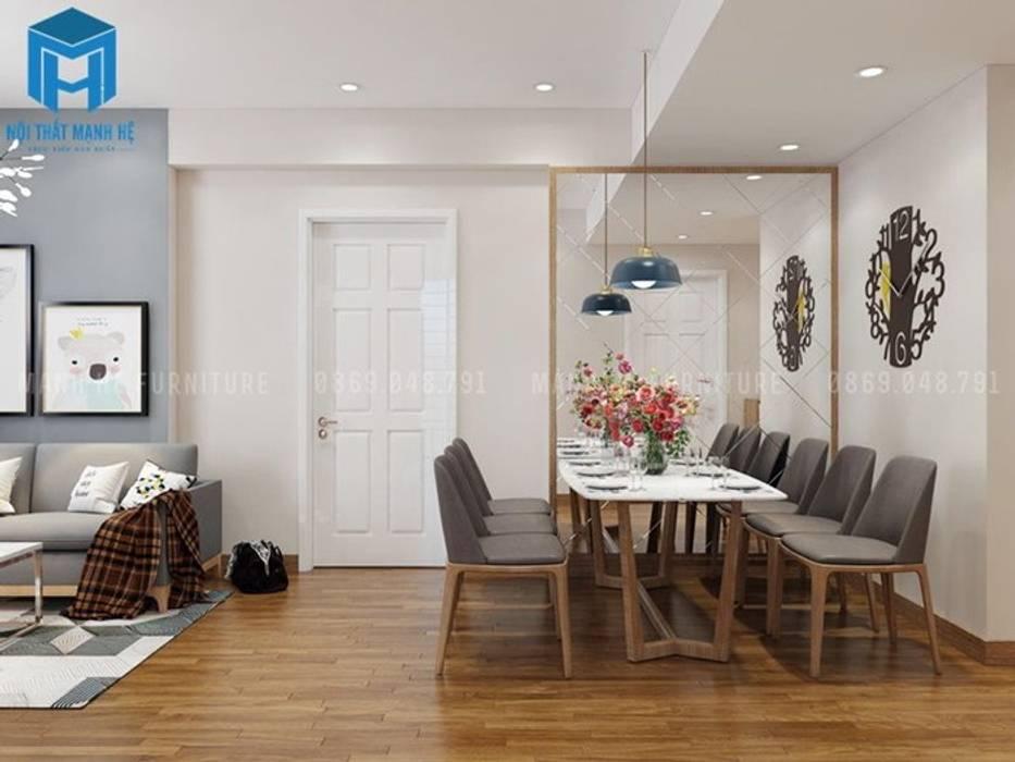 Nội thất phòng khách có vách ngăn bằng kính tạo cho không gian được thoải mái và rộng rãi hơn nhiều Nhà bếp phong cách hiện đại bởi Công ty TNHH Nội Thất Mạnh Hệ Hiện đại