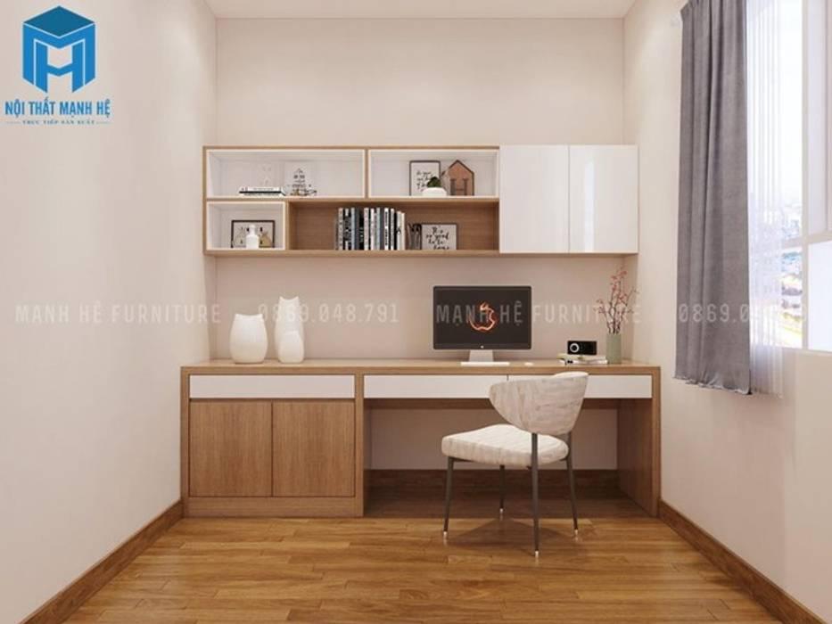 Nội thất phòng ngủ 3 được thiết kế khá đơn giản, chỉ có bàn làm việc và kệ treo gỗ Phòng ngủ phong cách hiện đại bởi Công ty TNHH Nội Thất Mạnh Hệ Hiện đại