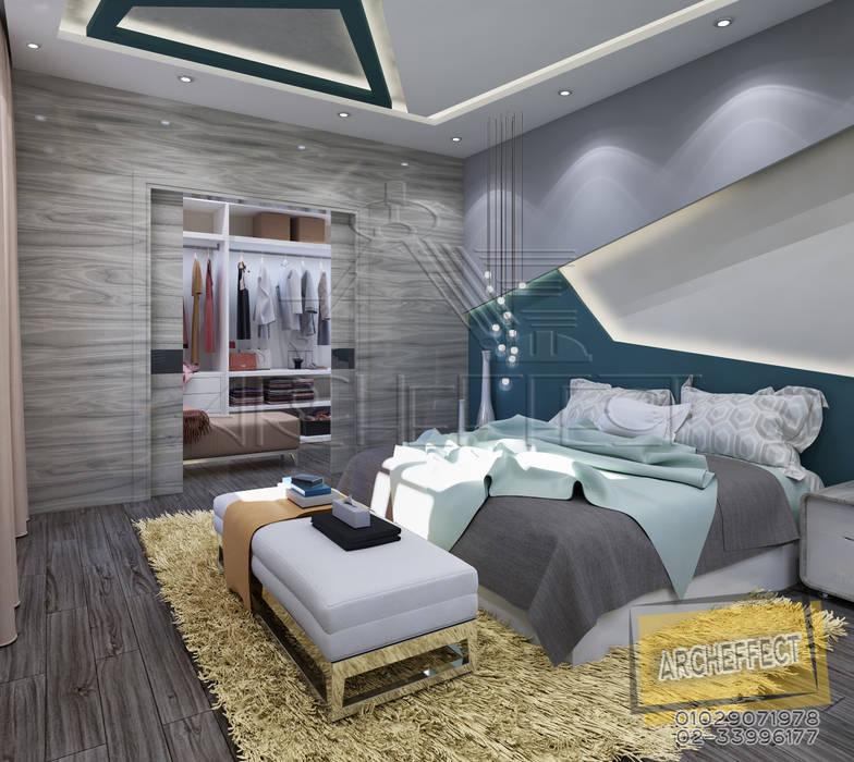 مشروع فيلا القاهره الجديدة:  غرفة نوم تنفيذ Archeffect