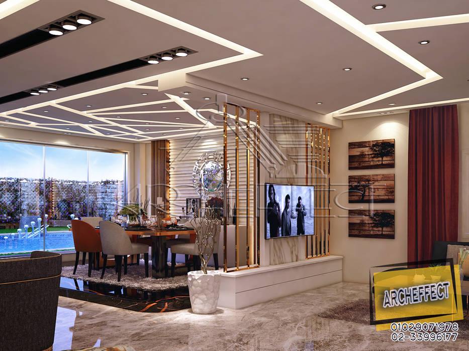 مشروع فيلا القاهره الجديدة:  غرفة السفرة تنفيذ Archeffect