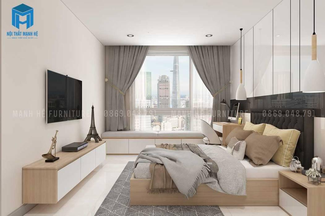 Cửa sổ phòng nhìn ra view toàn cảnh thành phố khá đẹp:  Phòng ngủ by Công ty TNHH Nội Thất Mạnh Hệ, Hiện đại