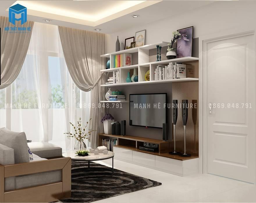 现代客厅設計點子、靈感 & 圖片 根據 Công ty TNHH Nội Thất Mạnh Hệ 現代風