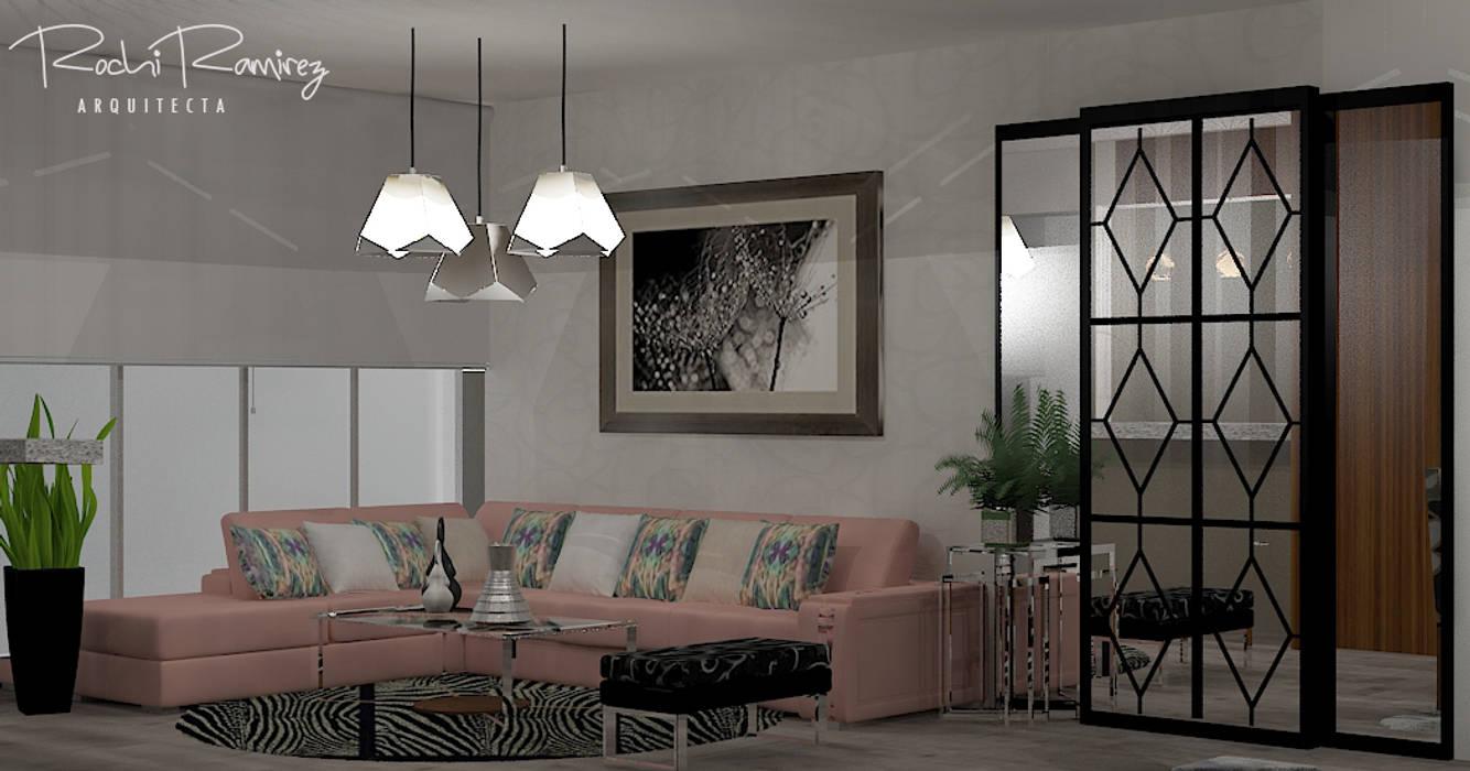 SALA OPCION 1: Salas / recibidores de estilo  por Estudio R&R